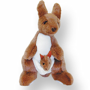 Stuffed Toy Jolly Kangaroo w/ Joey  14