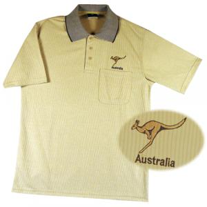 Tan Stripe Roo Aussie Polo
